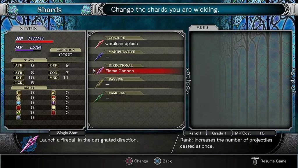 Bloodstained: Ritual of the Night Shard System