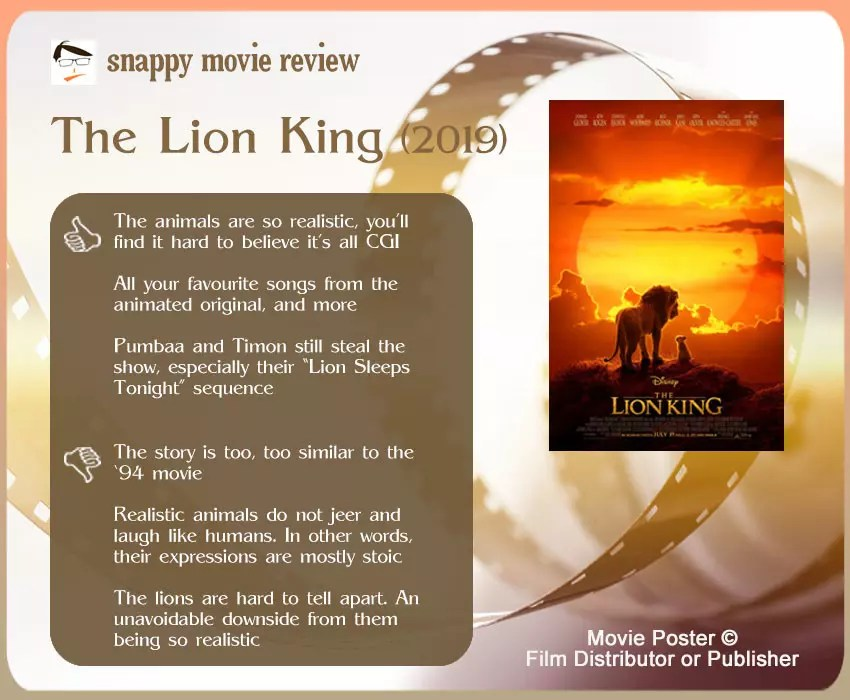 The Lion King (2019) Movie Review: 3 thumbs-up and 3 thumbs-down.