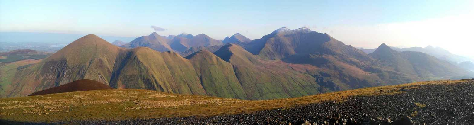 Panorama of some of the northern Snowdonia hills taken from Mynydd Mawr
