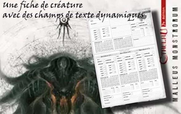 fiche creature appel de cthulhu v7