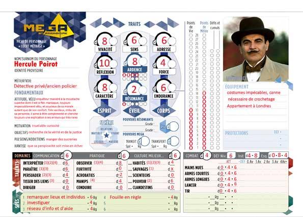 Hercule Poirot, la fiche de Personnage Mega 5e