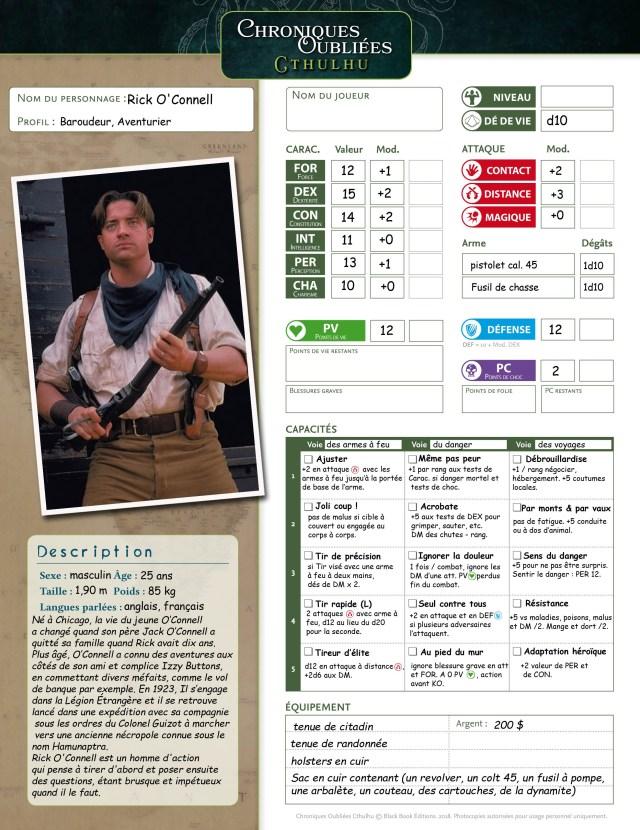 Rick O'Connell la fiche de Personnage de Chroniques Oubliées Cthulhu