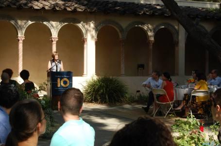 Scripps College President Lori Bettison Varga introducing founder Eli Winkelman