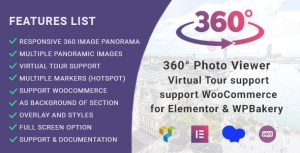 360 ° visionneuse de photos (Virtual Tour) pour Elementor et WPBakery Page Builder
