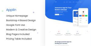 Applin - Modern App Landing Page Site PSD Template