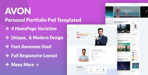 Avon - Creative Personal Portfolio PSD Template