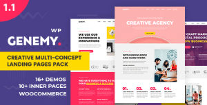 Genemy - Creative Multi Concept Landing Pages Pack With Page Builder