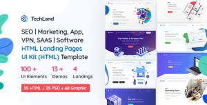 TechLand - SEO|Marketing, SAAS|Software, App, VPN Landing pages + UI Kit HTML Template