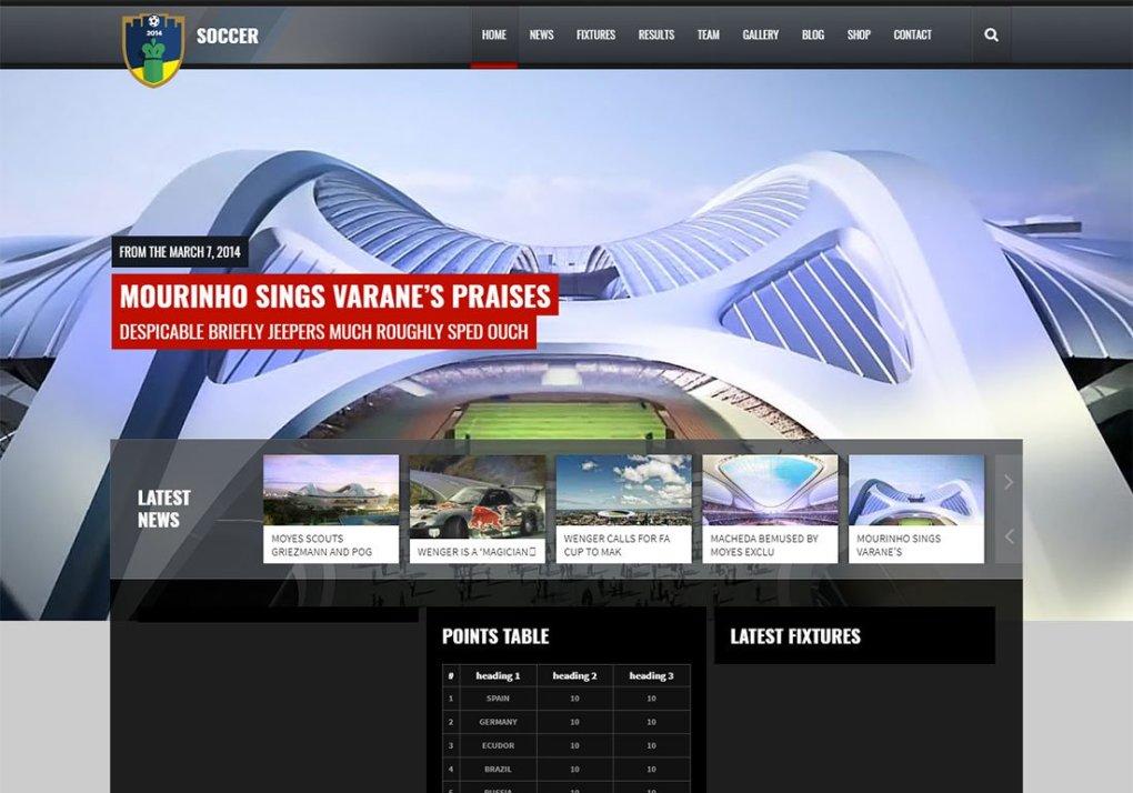 Thème WordPress pour le club de football