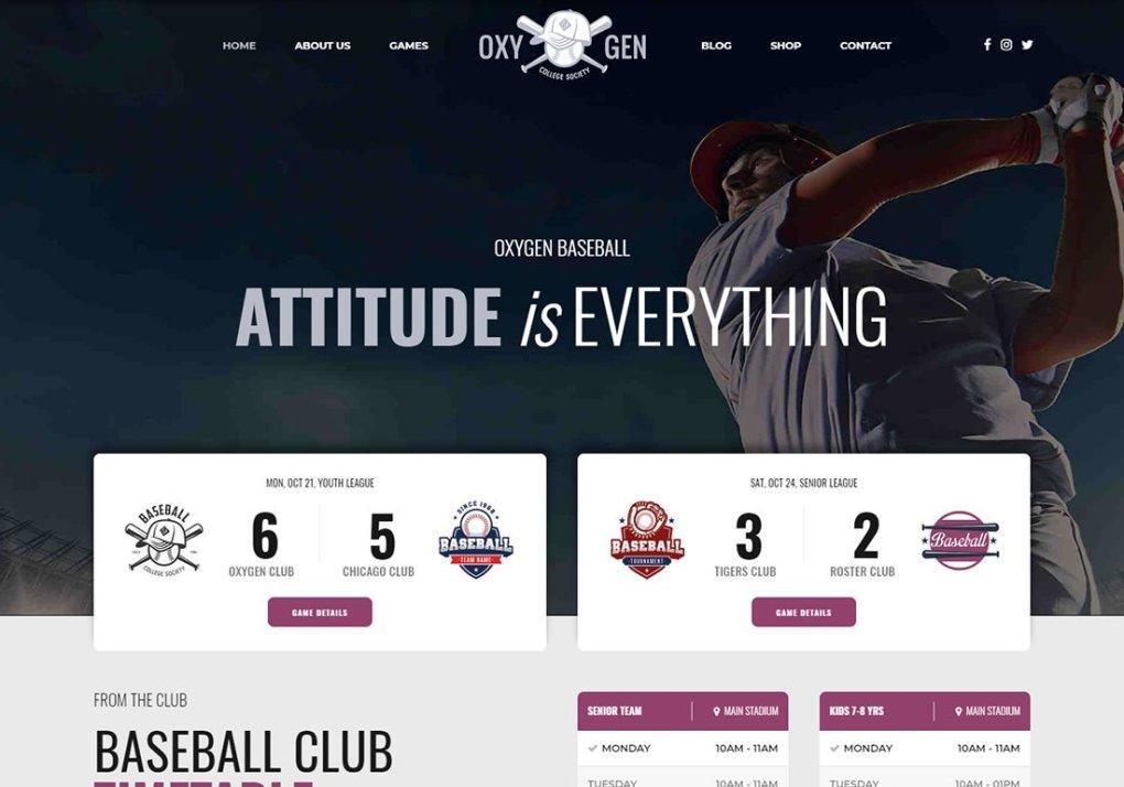 Thème WordPress Oxigeno Baseball
