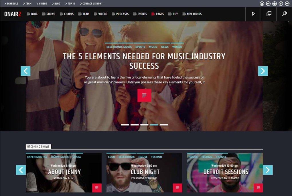 Thème de streaming en direct Onair2 WordPress