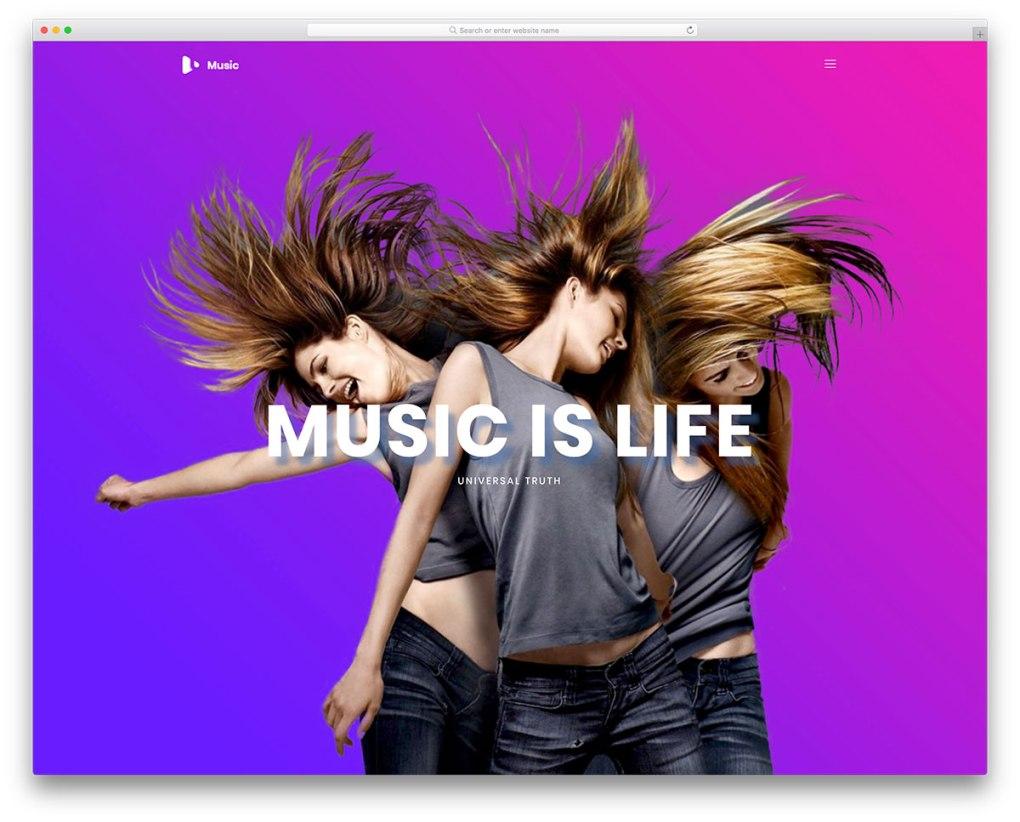 modèle de site Web mobile gratuit pour la musique
