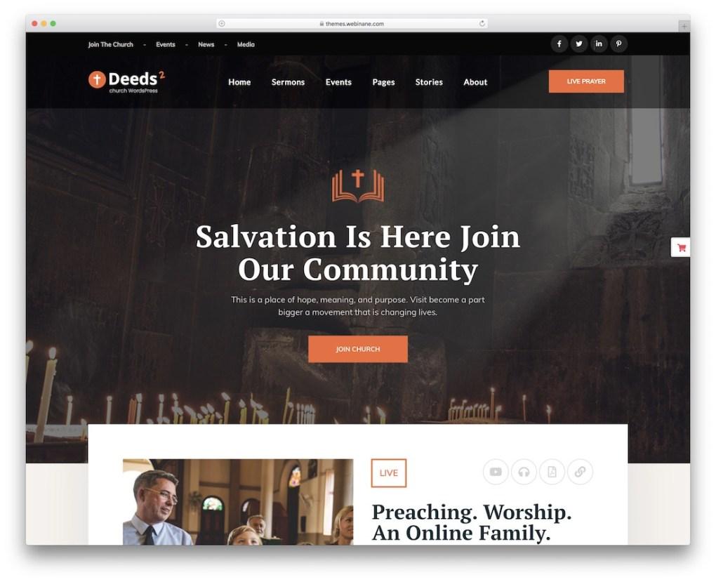 modèle de site Web église deeds2