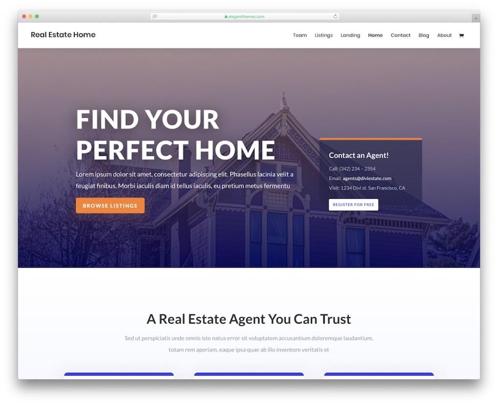 modèle de site Web immobilier divi