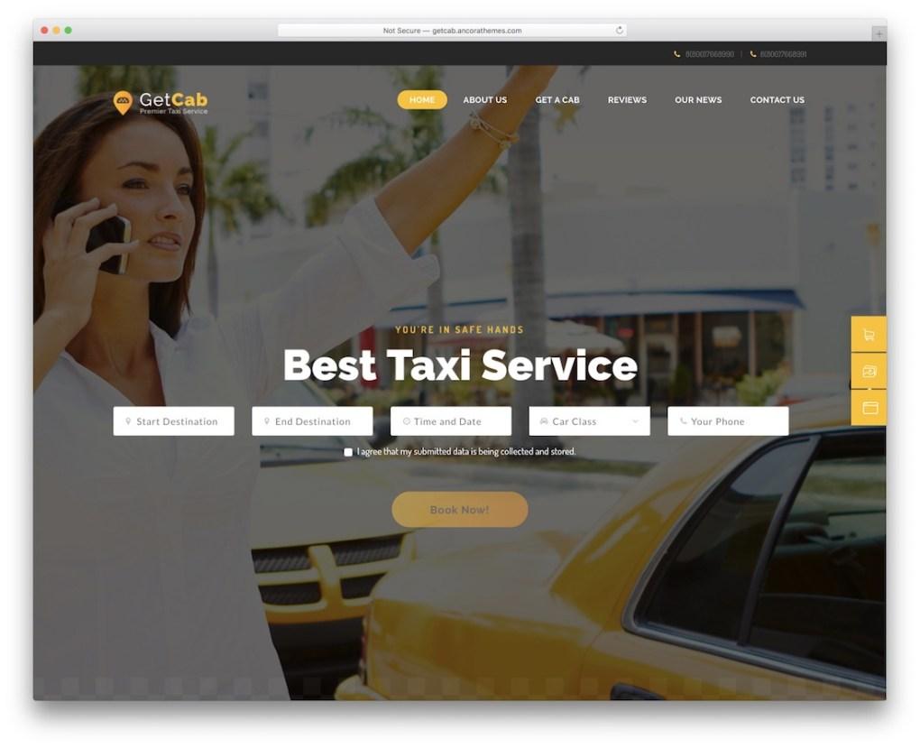 getcab taxi location de voitures service wordpress thème
