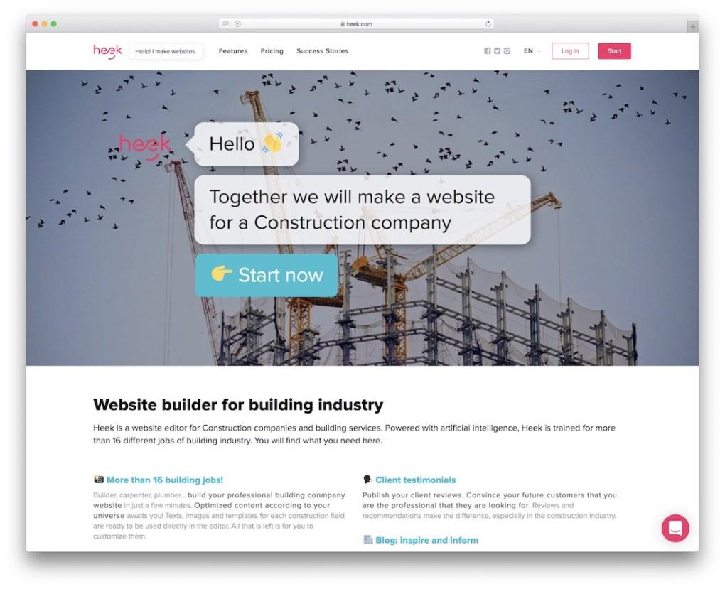 constructeur de site web heek pour entreprise de construction