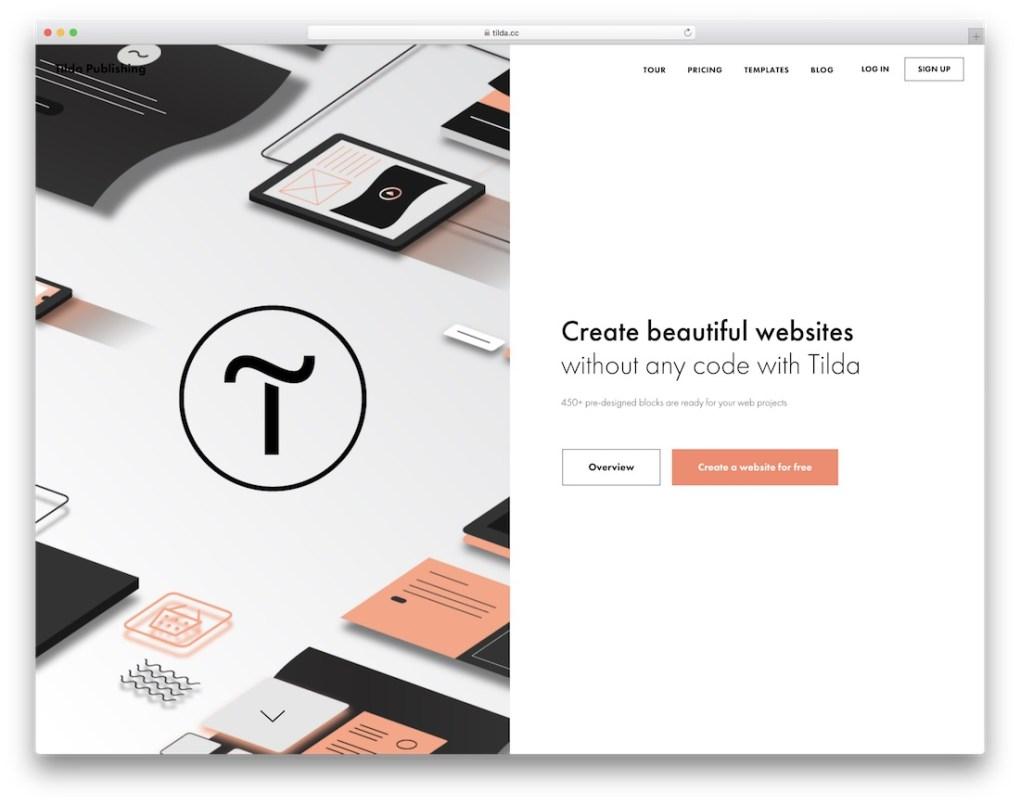 constructeur de site web tilda pour entreprise de construction