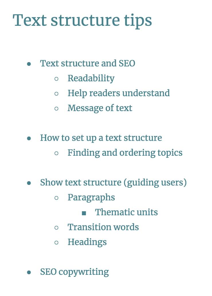structure de texte étape 3