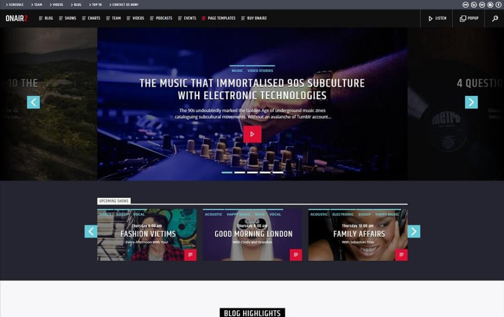 Thème WordPress pour radio et podcasting onair2