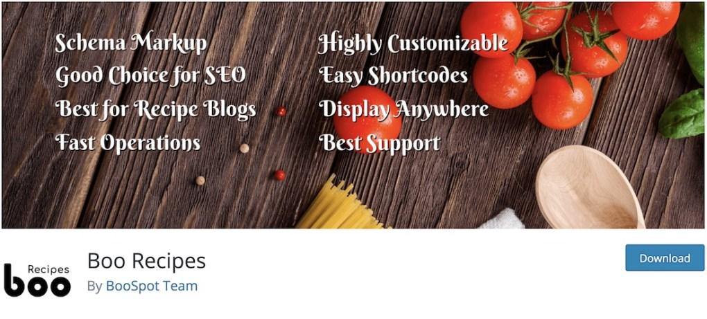 boo recipes plugin wordpress