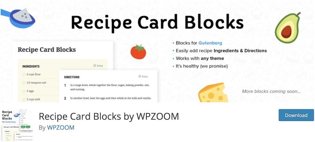 carte de recette bloque le plugin wordpress