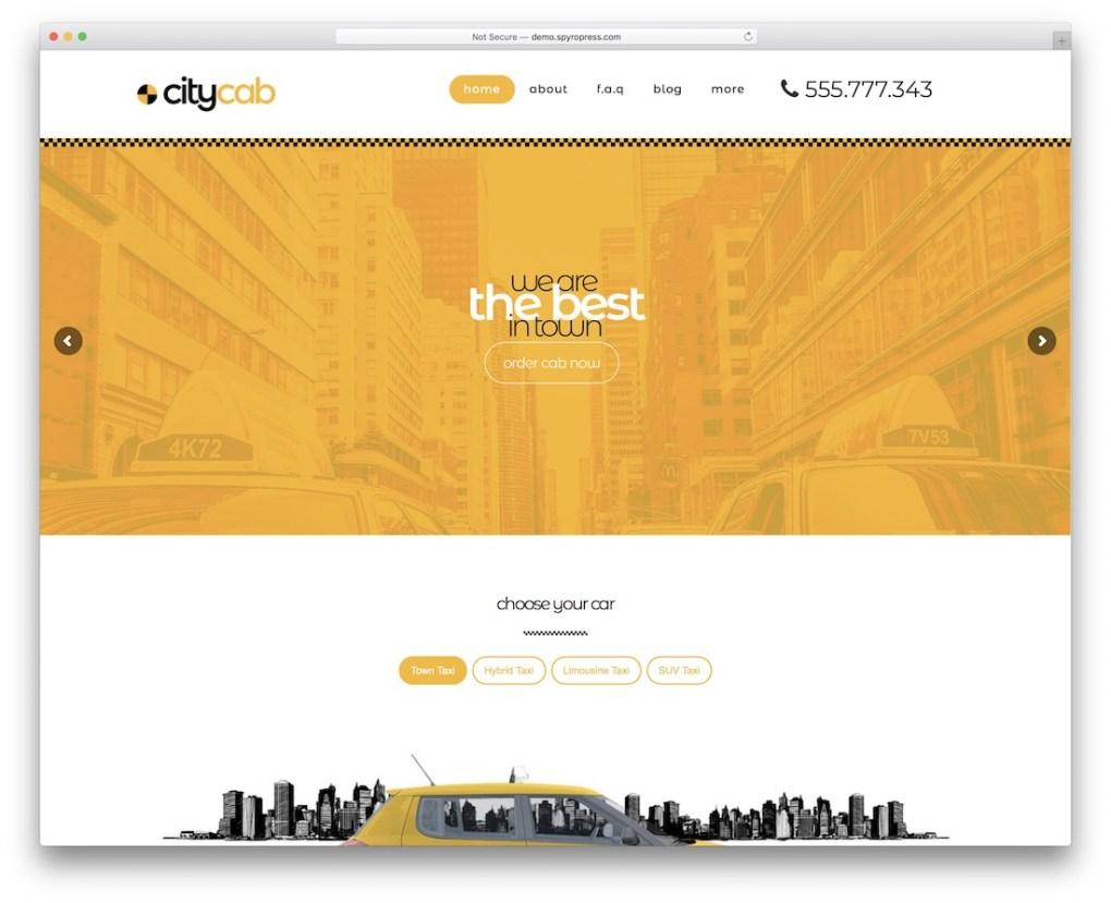 service de location de voiture taxi citycab thème wordpress
