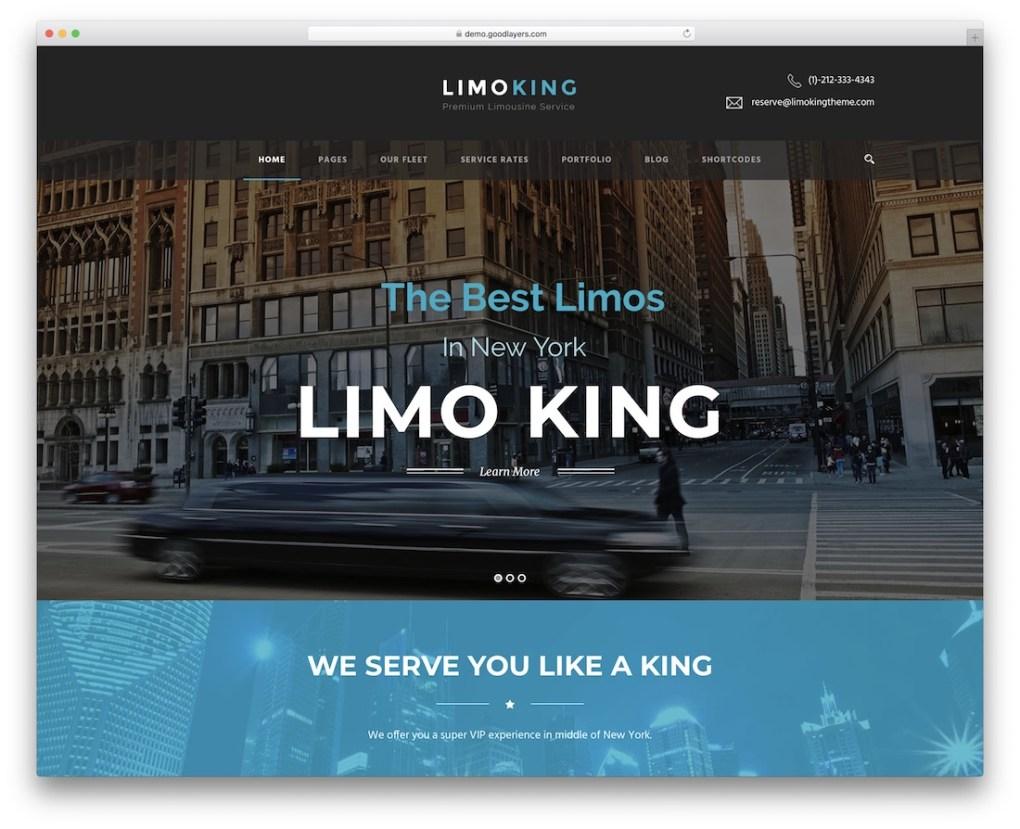 limousine roi taxi service de location de voiture thème wordpress