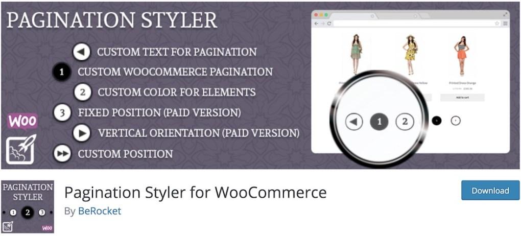 styler de pagination pour le plugin wordpress woocommerce