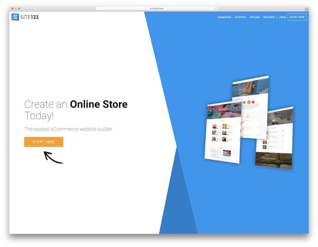 constructeur de site Web de commerce électronique pas cher site123