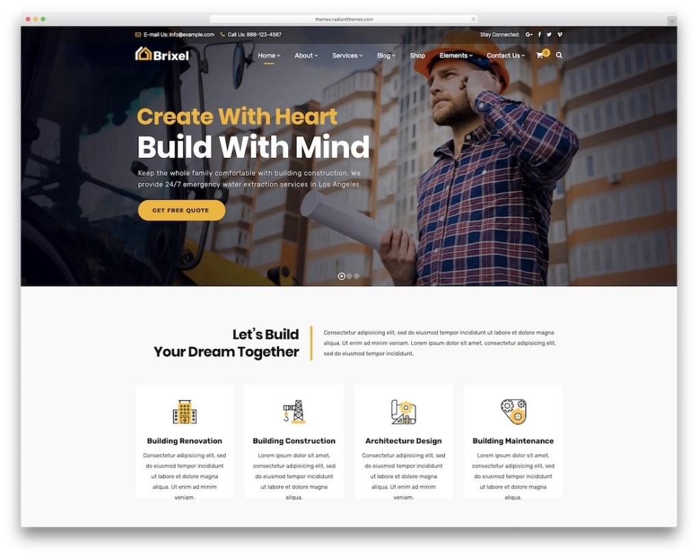 Thème WordPress pour petites entreprises Brixel