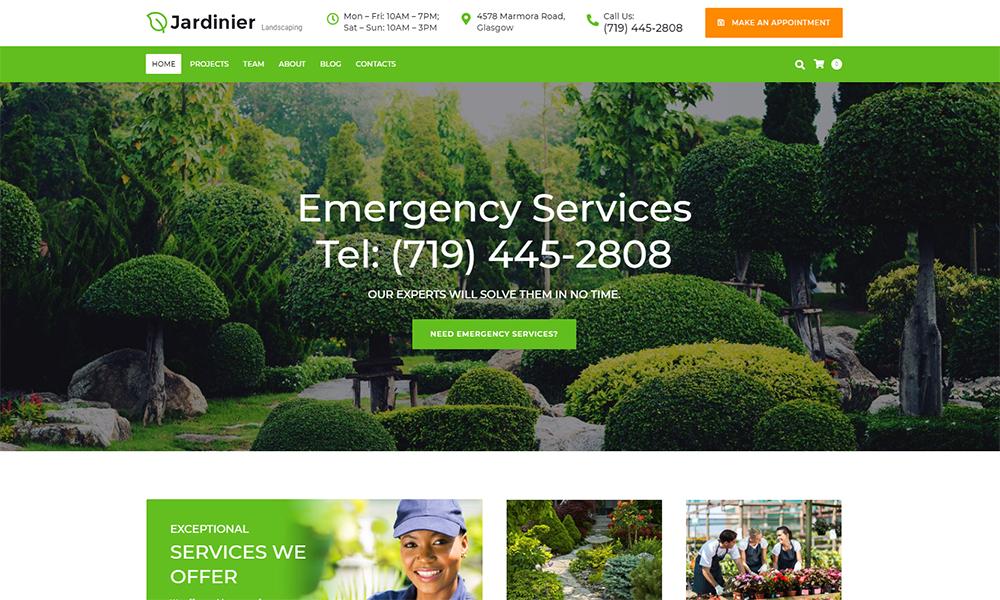 Thème WordPress pour services d'aménagement paysager