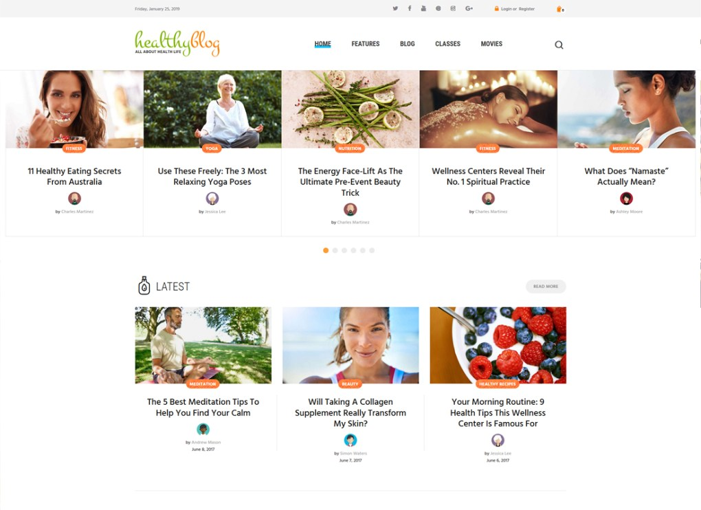 Blog sain | Blog de vie saine avec le thème WordPress de la boutique en ligne