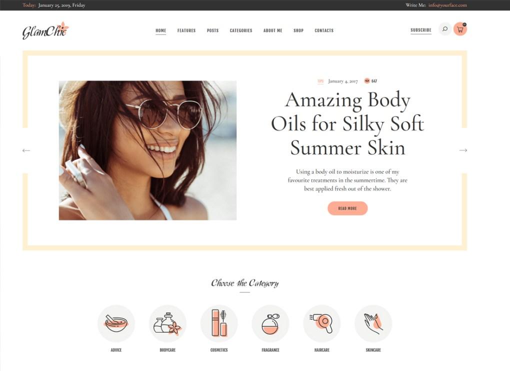 GlamChic | Blog de beauté et thème WordPress de magazine en ligne