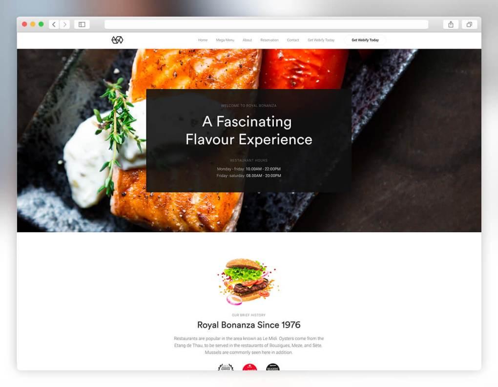 Webify - Thème WordPress pour restaurant de fruits de mer