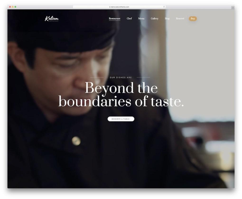 thème de restaurant kalium wordpress