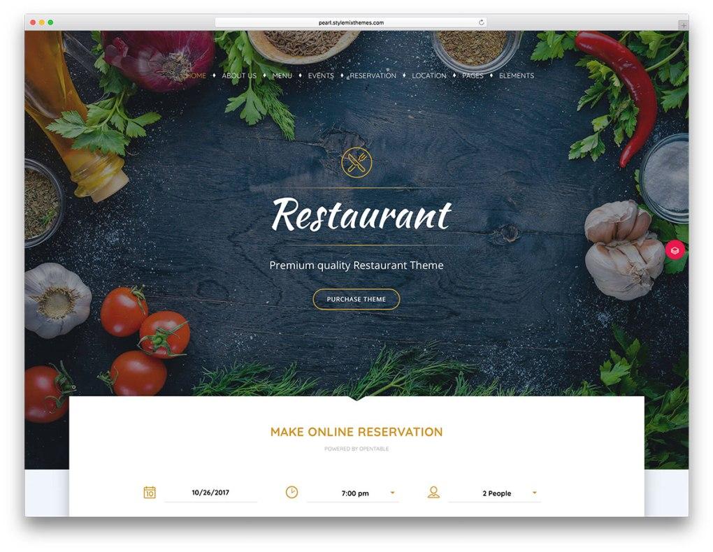Thème WordPress pour réservation en ligne de restaurant