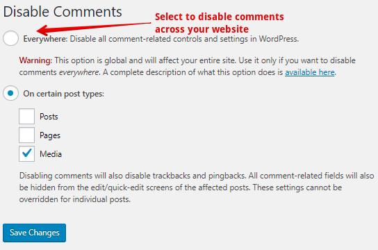Désactiver les commentaires à l'aide d'un plugin sur le site Web
