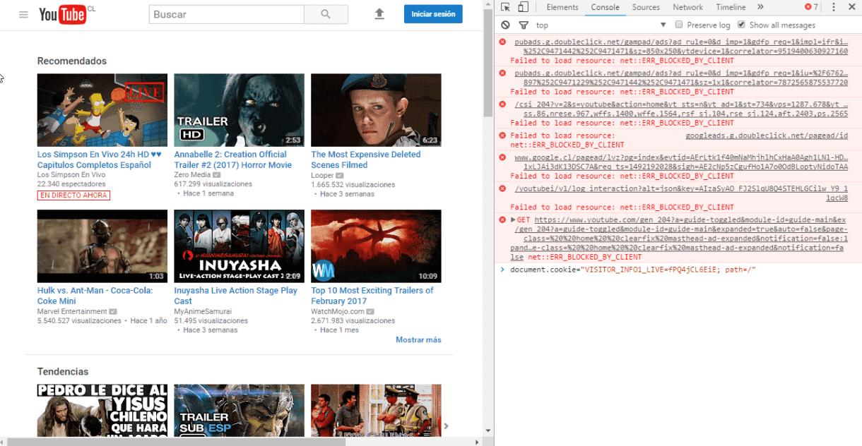 YouTube herramienta consola