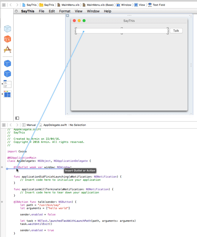 Ctrl or right drag from the UI to code to create connections