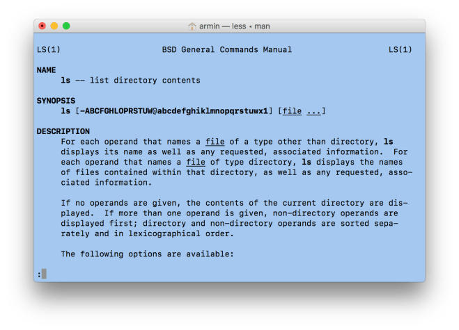 Normal man page in Terminal