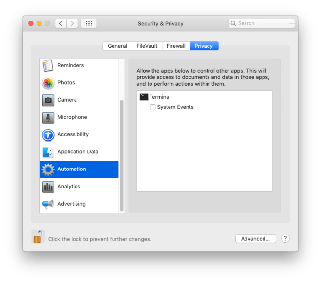 Security & Privacy Pane in macOS Mojave