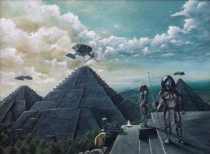 No universo de Alien vs Predador, os alienígenas foram responsáveis pelos templos mesoameríndios. Arte de Lewiscoraline.