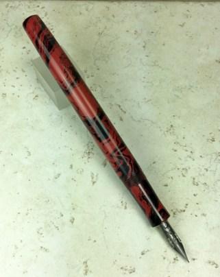Epic Dip Pen in Black & Red Mottled Ebonite