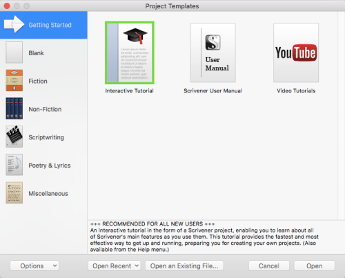 Scrivener Walkthrough - Project Templates