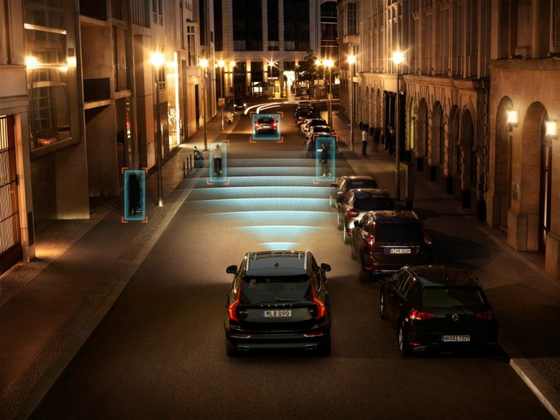A rendering showing Volvo's City Safety technology at night on an XC90. (Volvo)