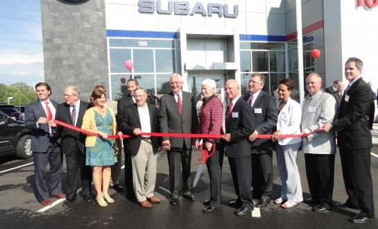 New York state  Sen. John A. DeFrancisco, R-N.Y., participates in a ribbon-cutting Aug. 21, 2014, for Auburn, N.Y., Fox Toyota and Subaru. DeFrancisco has prefiled a bill requiring OEM parts be used for at least the first three years of a car's life. (Provided by state Sen. John DeFrancisco)