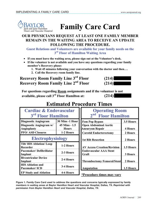 Family Care Card Sample Image