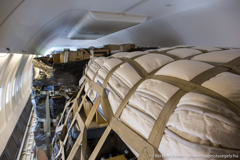 Pallets of equipment and supplies arrive in Budapest, Hungary