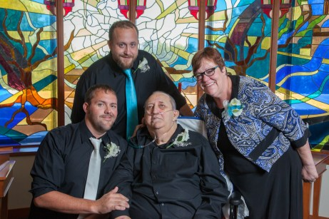 Groom smiles with his father, a former patient at Baylor Garland