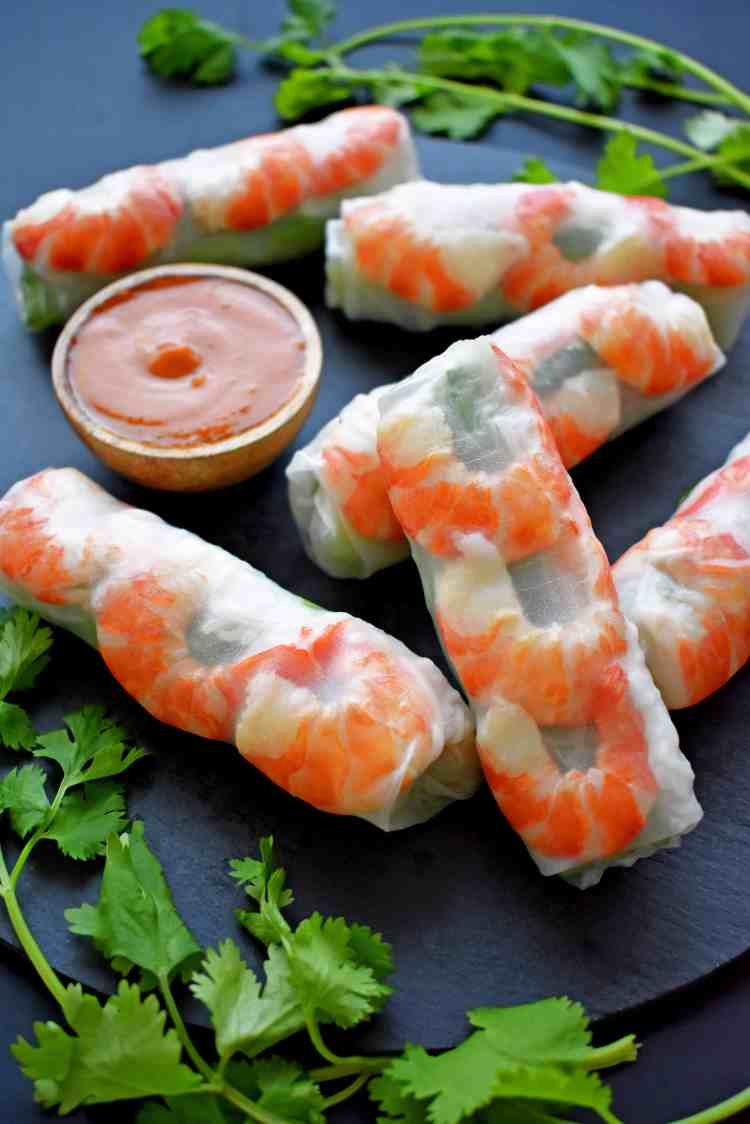 Traditional Vietnamese Rice Paper Rolls with 3 Sauces